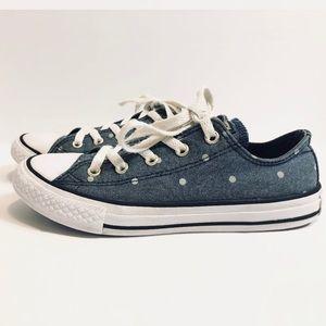 Kid's Converse All-Star denim polka dot shoe